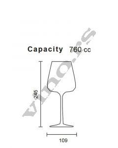Italesse čaša za vino Etoile Noir (crystalline) 790 cc