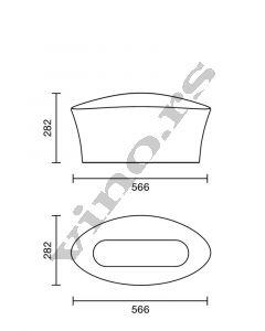Italesse kibla acrylic Vela Bowl Clear sa Led rasvetom Singolo